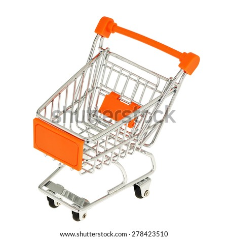 empty miniature shopping cart isolated on white background - stock photo