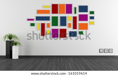 Empty minimalist room with colorful frame on wall - rendering - stock photo
