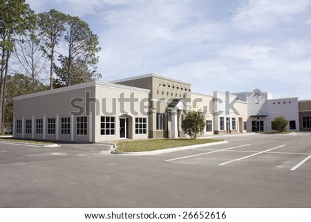 empty mixed architectural style commercial mall - stock photo
