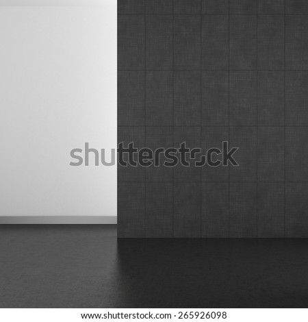 empty modern bathroom with gray tiles and dark floor; 3d rendering - stock photo
