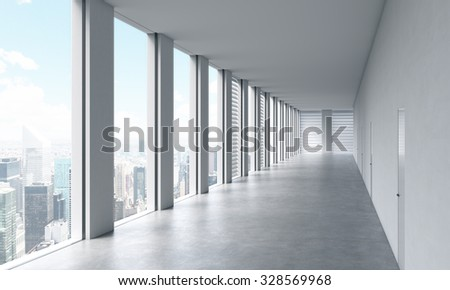 Empty modern bright clean interior of an open space office. Huge panoramic windows with New York view. A concept of luxury space for legal or wealth management office. 3D rendering.