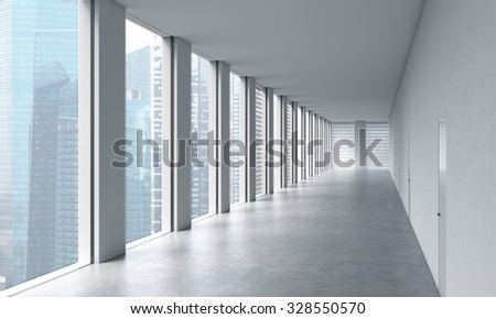 Empty modern bright clean interior of an open space office. Huge panoramic windows with Singapore view. A concept of luxury space for legal or wealth management office. 3D rendering.