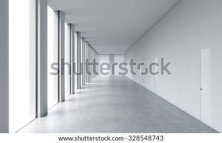 Empty modern bright clean interior of an open space office. Huge panoramic windows with white copy space and white walls. A concept of luxury space for legal services. 3D rendering.