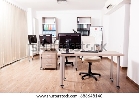 Empty modern business office. Interior design. Open space