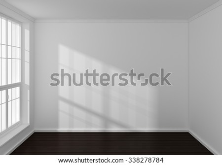 Empty modern 3d rendered interior with a big window. - stock photo
