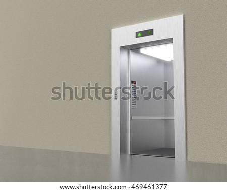Empty modern elevator with opened doors 3D rendering image.