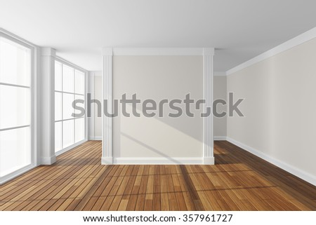 Empty modern hall with big window. 3d rendering.