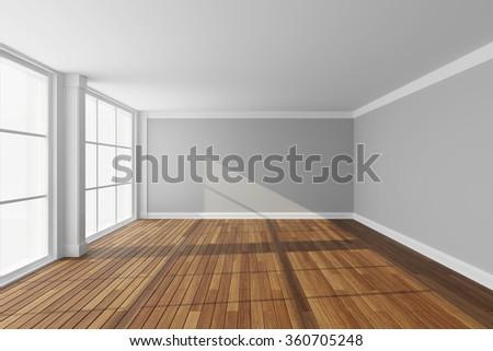 Empty modern hall with big window. 3d rendering. - stock photo