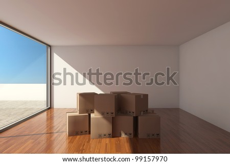 Empty modern hall with cardboard boxes - stock photo