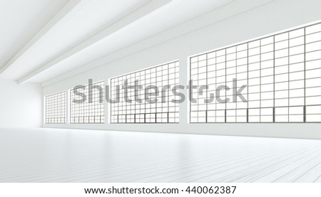 Empty modern industrial room with huge panoramic windows,painted white wood floor and blank walls. 3D rendering.Generic design interior contemporary conference hall.Open space business idea.Horizontal