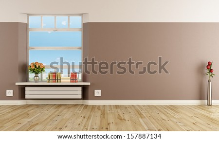 Empty modern interior with radiator under windowsill  - stock photo