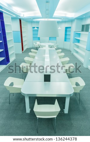 empty modern library - stock photo