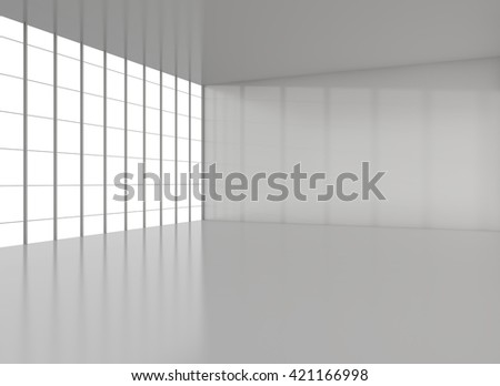 Empty modern loft with floor, ceiling and big window. Exhibition room. 3D illustration - stock photo