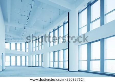 empty modern office corridor interior - stock photo