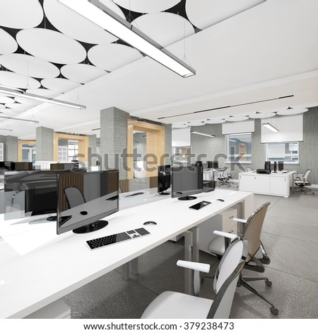 Empty modern office interior work place