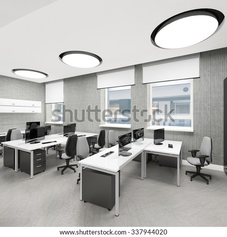 Empty modern office interior work place 3D illustration