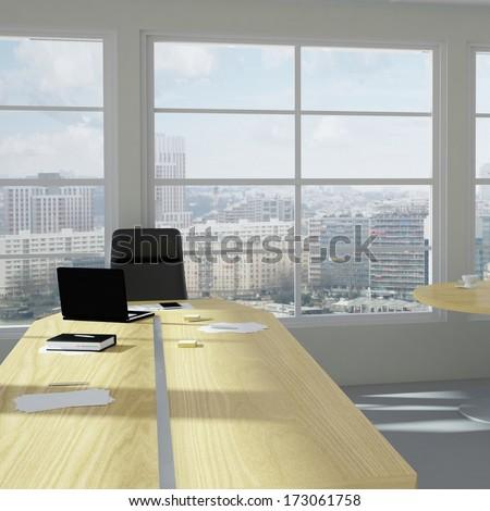 Empty modern office room with urban skyline - stock photo