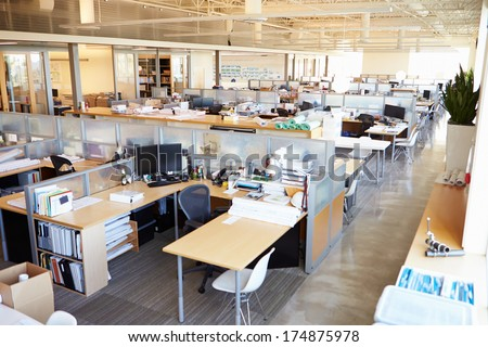 Empty Modern Open Plan Office - stock photo