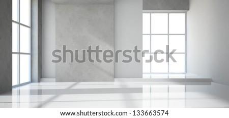 Empty modern room - stock photo