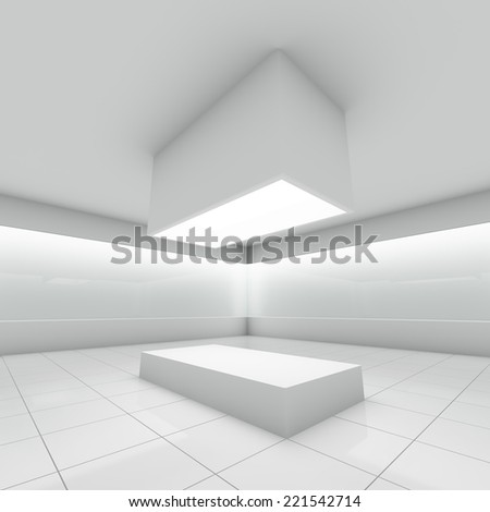 Empty modern shop with glass showcase. 3D illustration. - stock photo