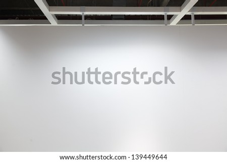 Empty modern shop with illumination wall - stock photo