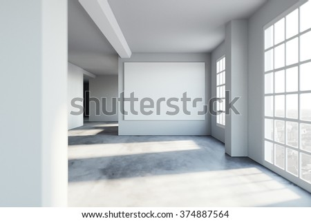 empty modern space in loft hipster style. 3d rendering - stock photo