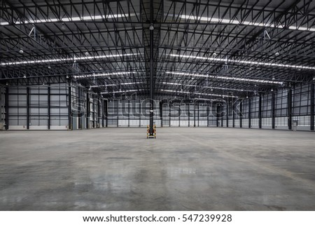 empty modern warehouse for distribution goods.