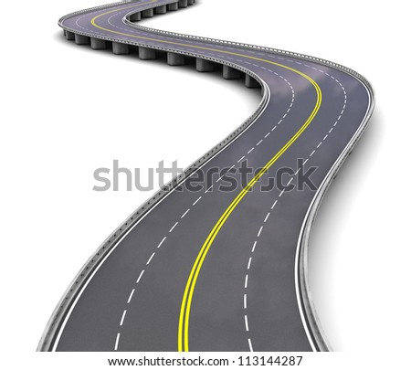 Empty motorway with turns over white background