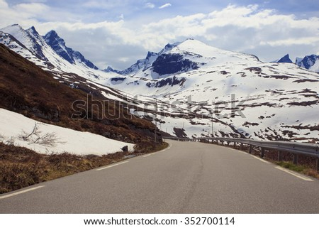 empty mountain road at the Norway - stock photo