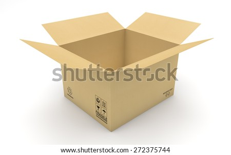 Empty new cardboard box isolated with clipping path - stock photo