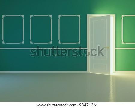 Empty new classic room with opened door, 3d render. - stock photo