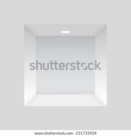 Empty niche in the wall with lights, to display various items.  - stock photo