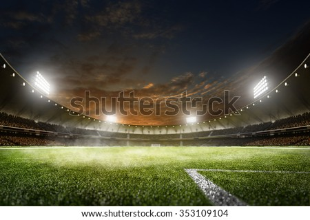 Empty night grand soccer arena in the lights - stock photo