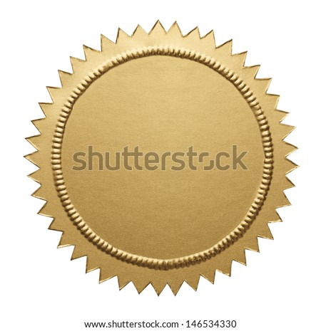 Empty Notary Seal with Copy Space Isolated on White Background. - stock photo