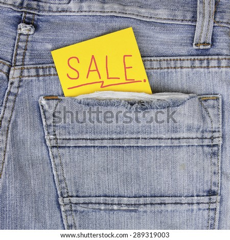 "empty Note in jeans pocket, note for "" sale"" texture"