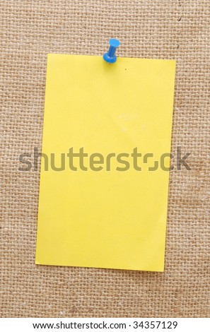 empty note over sackcloth background