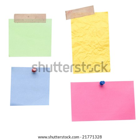 empty notes over white background