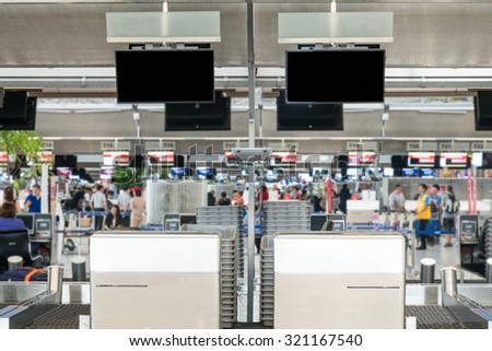 Empty of public check-in area of an airport  - stock photo