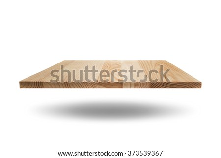 Empty of wood table  top on white background.Selective focus and this has clipping path.