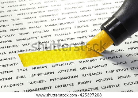 Empty of yellow line ink highlighter with marker on paper other related words.You can put some word.For business concept.  - stock photo