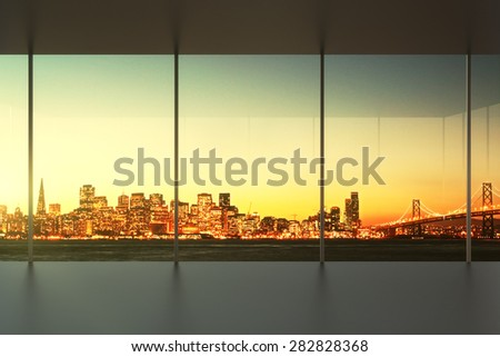 empty office at sunset with view to the skyline - stock photo