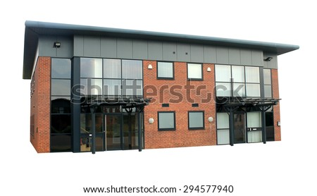 Empty office building on a business park isolated on a white background.