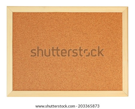 Empty office cork notice board isolated on white