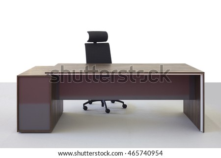 Empty Office Desk and Chair Isolated on White Background