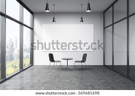 Empty office in a skyscraper, French window to the left, New York view, big white board on the white wall. A small black table and two black chairs at the wall, lamps above. Concept of talks. - stock photo