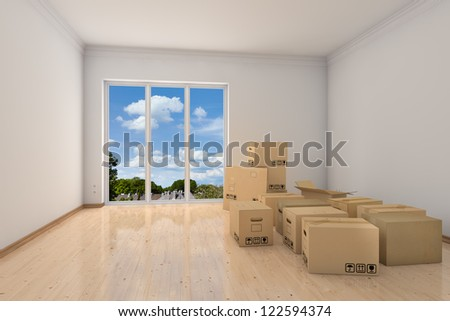 Empty office room with moving boxes during relocation - stock photo