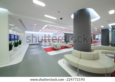 Empty office space in modern style for reception of visitors - stock photo