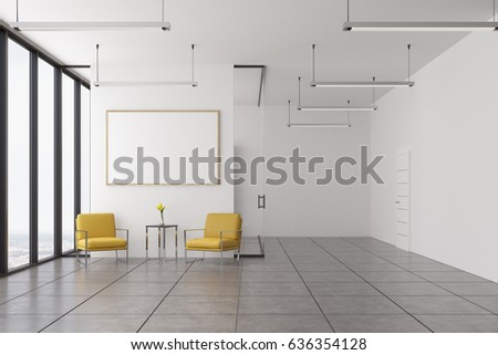 Empty office waiting area with two yellow armchairs standing near a coffee table and a framed horizontal poster hanging above it. 3d rendering, mock up