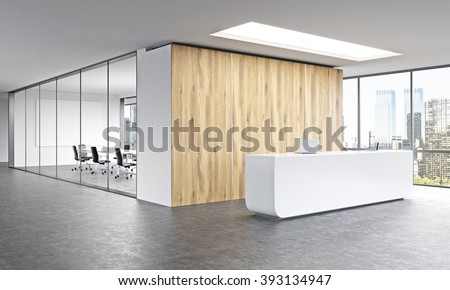 what is a reception office. empty office white reception at wooden wall panoramic window right meeting room behind what is a
