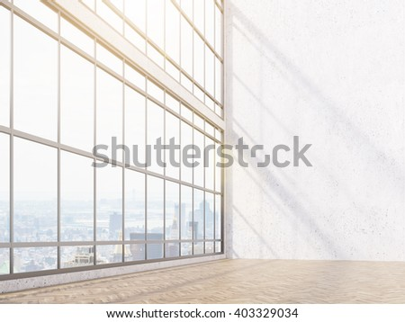Empty office, white wall and panoramic window, city view. Concept of new office. Mock up. 3D rendering - stock photo